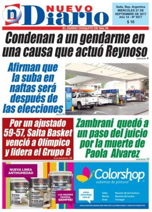 Tapa del 27/09/2017 Nuevo Diario de Salta