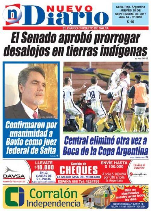 Tapa del 28/09/2017 Nuevo Diario de Salta