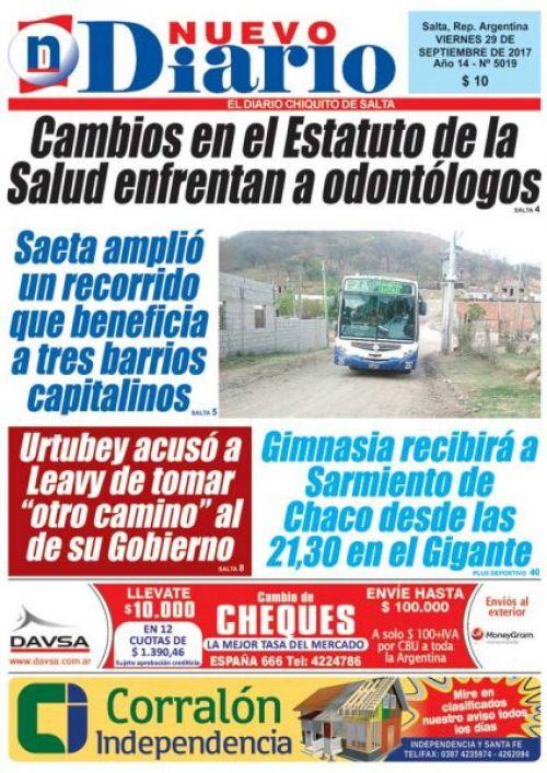Tapa del 29/09/2017 Nuevo Diario de Salta