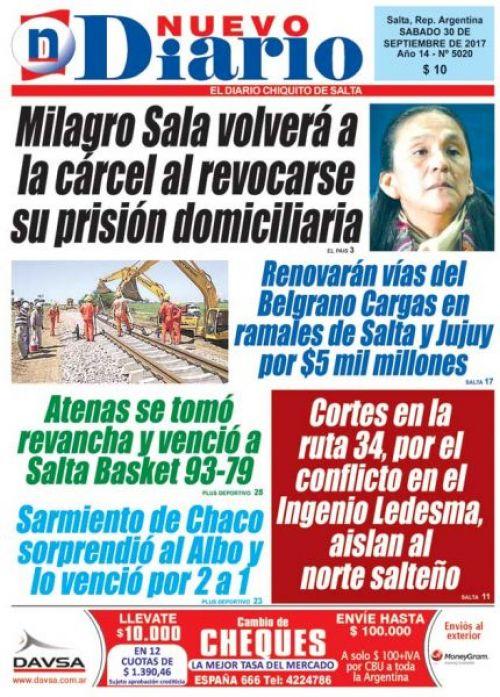 Tapa del 30/09/2017 Nuevo Diario de Salta