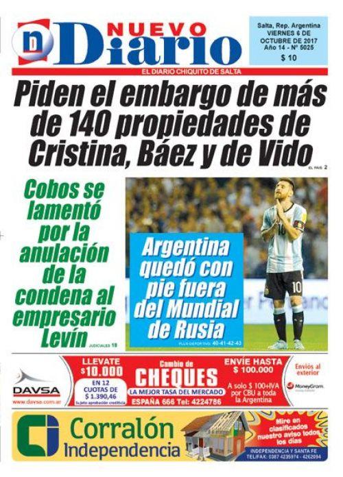 Tapa del 06/10/2017 Nuevo Diario de Salta