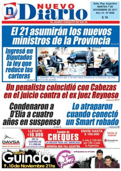 Tapa del 07/11/2017 Nuevo Diario de Salta