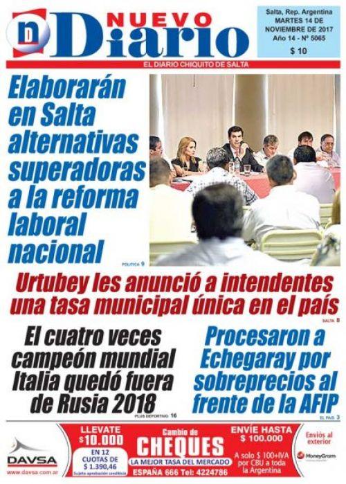 Tapa del 14/11/2017 Nuevo Diario de Salta