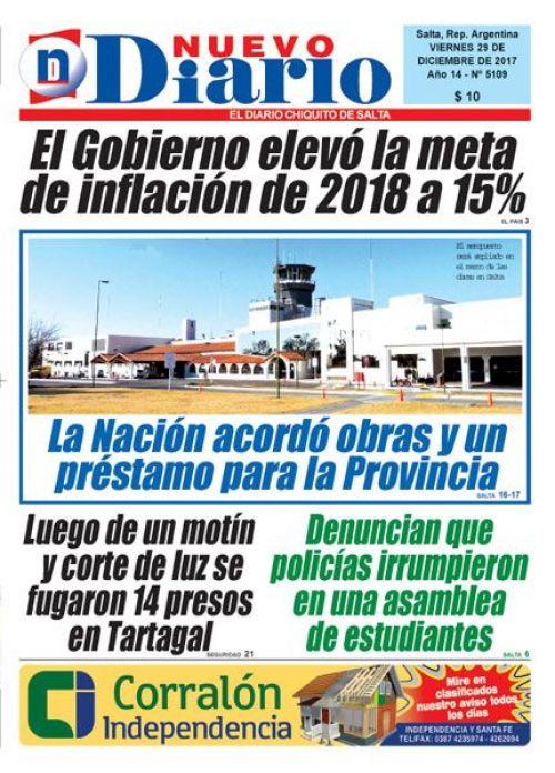 Tapa del 29/12/2017 Nuevo Diario de Salta