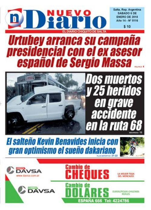 Tapa del 06/01/2018 Nuevo Diario de Salta
