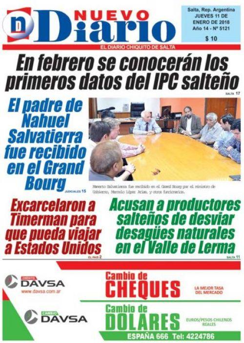 Tapa del 11/01/2018 Nuevo Diario de Salta