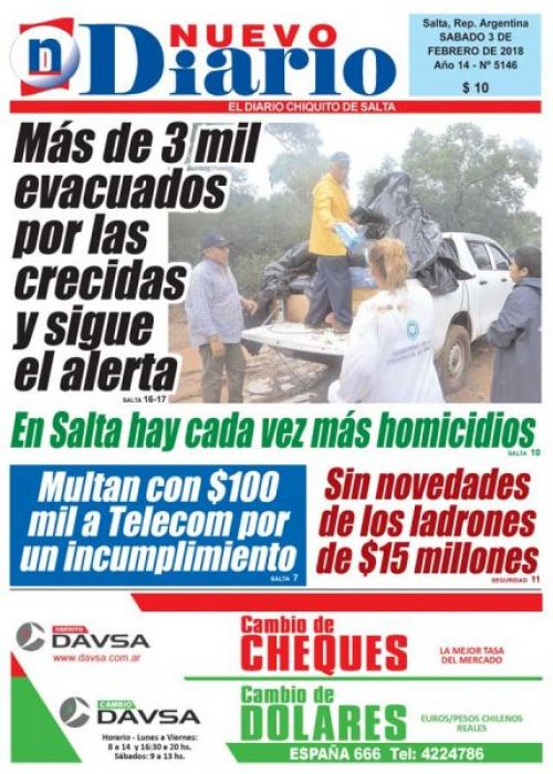 Tapa del 03/02/2018 Nuevo Diario de Salta