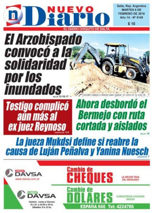 Tapa del 06/02/2018 Nuevo Diario de Salta