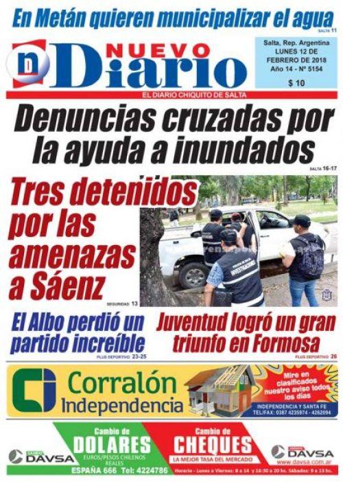 Tapa del 12/02/2018 Nuevo Diario de Salta