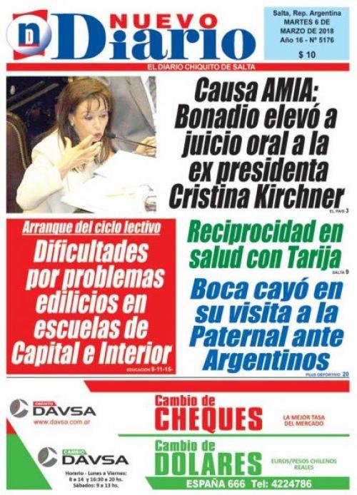 Tapa del 06/03/2018 Nuevo Diario de Salta