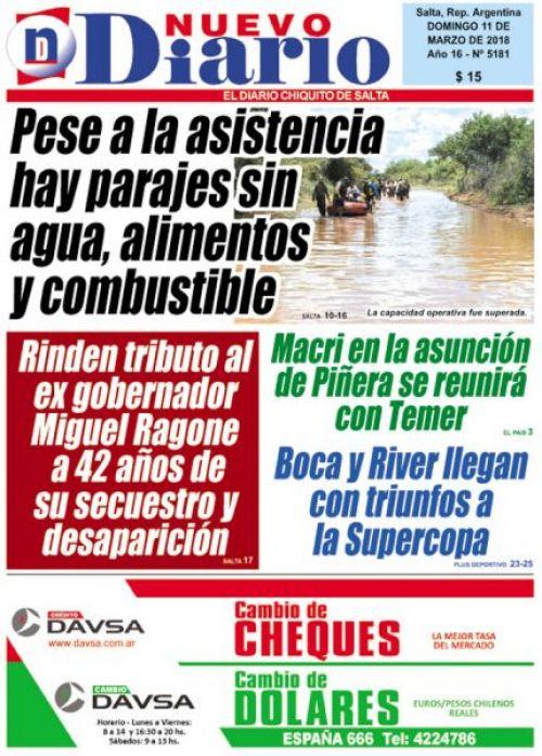 Tapa del 11/03/2018 Nuevo Diario de Salta