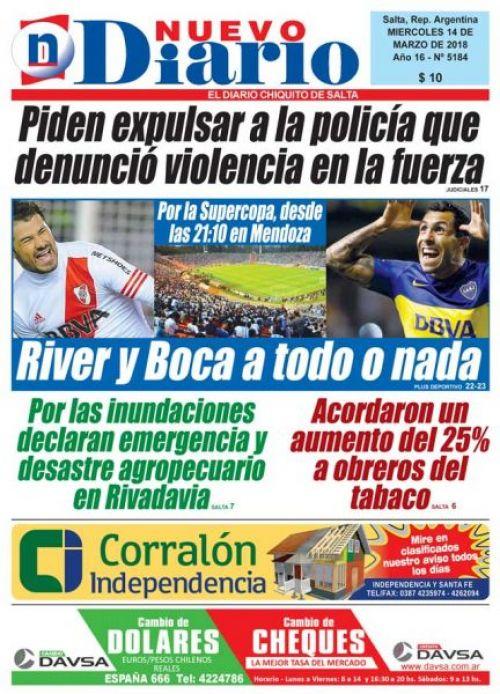 Tapa del 14/03/2018 Nuevo Diario de Salta