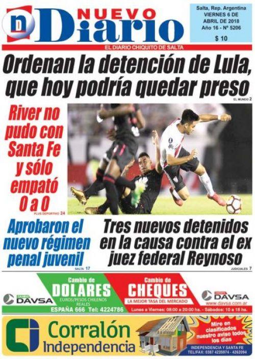 Tapa del 06/04/2018 Nuevo Diario de Salta