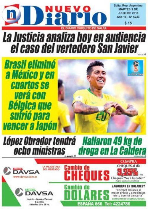 Tapa del 03/07/2018 Nuevo Diario de Salta