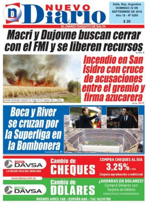 Tapa del 23/09/2018 Nuevo Diario de Salta