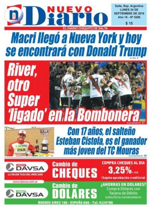 Tapa del 24/09/2018 Nuevo Diario de Salta