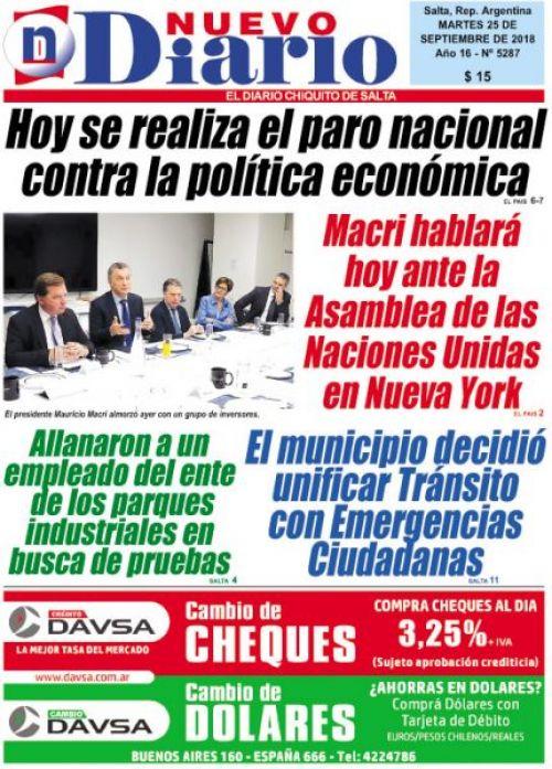 Tapa del 25/09/2018 Nuevo Diario de Salta