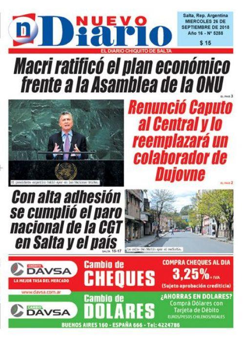 Tapa del 26/09/2018 Nuevo Diario de Salta