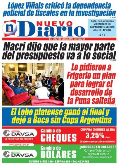 Tapa del 28/09/2018 Nuevo Diario de Salta