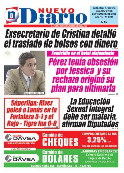 Tapa del 29/09/2018 Nuevo Diario de Salta