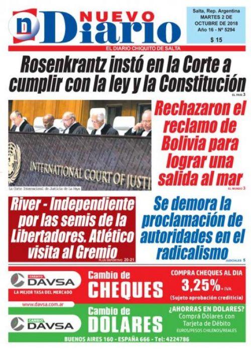 Tapa del 02/10/2018 Nuevo Diario de Salta
