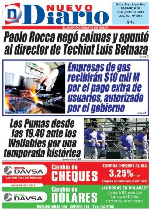 Tapa del 06/10/2018 Nuevo Diario de Salta