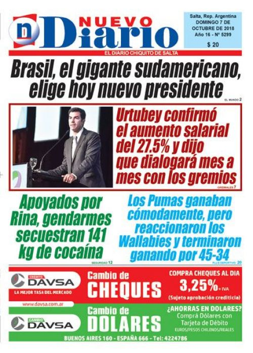 Tapa del 07/10/2018 Nuevo Diario de Salta