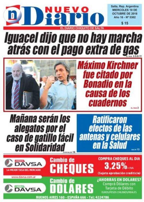 Tapa del 10/10/2018 Nuevo Diario de Salta
