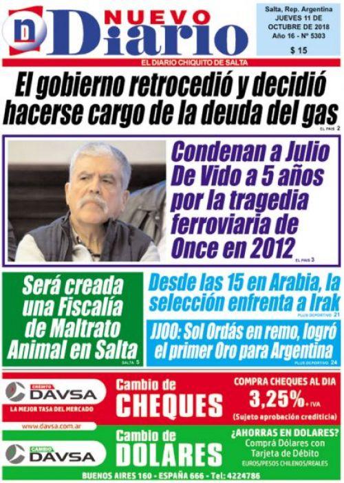 Tapa del 11/10/2018 Nuevo Diario de Salta