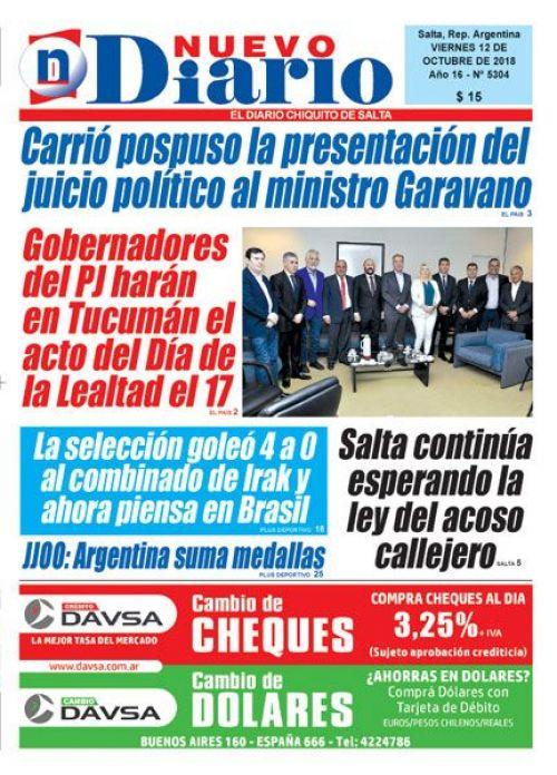 Tapa del 12/10/2018 Nuevo Diario de Salta