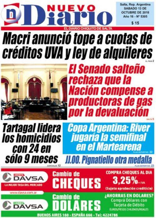 Tapa del 13/10/2018 Nuevo Diario de Salta