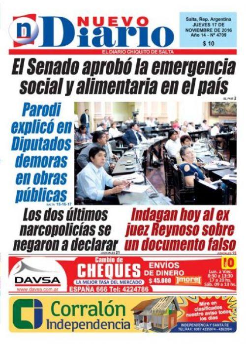 Tapa del 17/11/2016 Nuevo Diario de Salta
