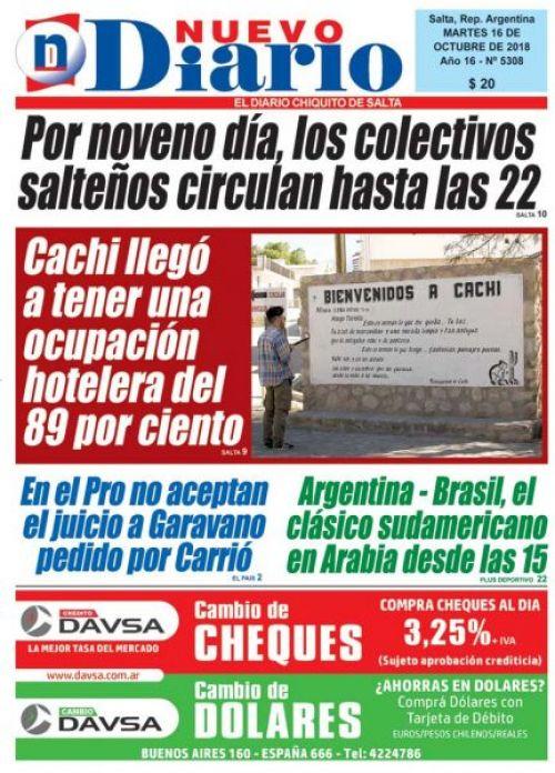 Tapa del 16/10/2018 Nuevo Diario de Salta