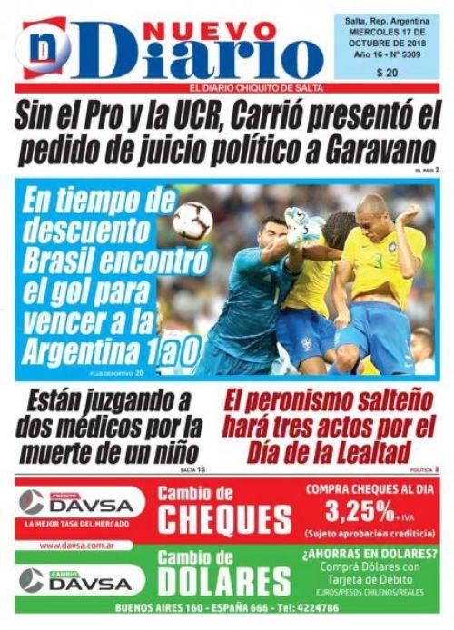 Tapa del 17/10/2018 Nuevo Diario de Salta