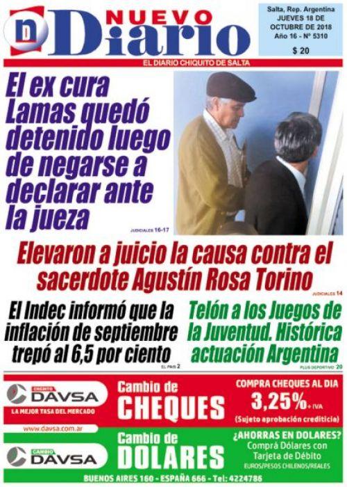 Tapa del 18/10/2018 Nuevo Diario de Salta