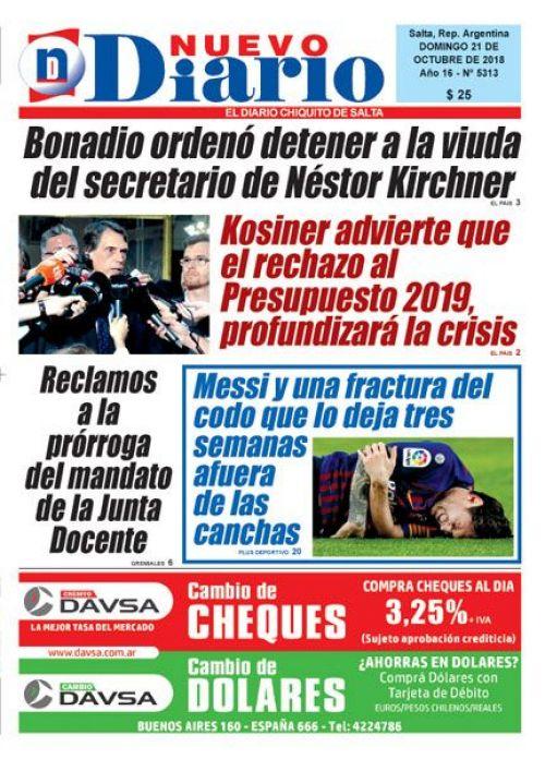 Tapa del 21/10/2018 Nuevo Diario de Salta
