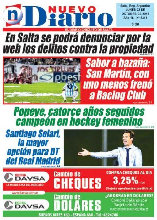 Tapa del 22/10/2018 Nuevo Diario de Salta