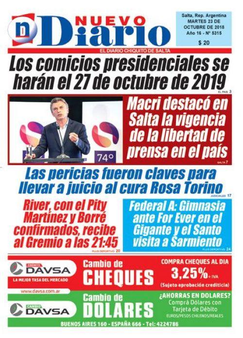 Tapa del 23/10/2018 Nuevo Diario de Salta