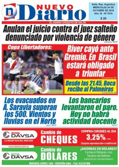 Tapa del 24/10/2018 Nuevo Diario de Salta