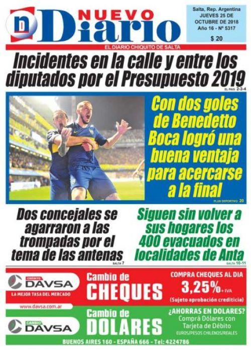Tapa del 25/10/2018 Nuevo Diario de Salta
