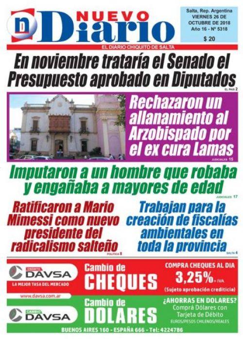 Tapa del 26/10/2018 Nuevo Diario de Salta