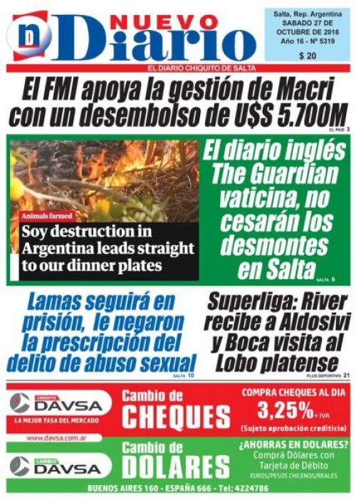 Tapa del 27/10/2018 Nuevo Diario de Salta