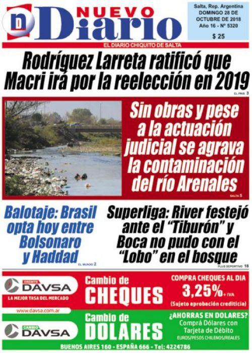 Tapa del 28/10/2018 Nuevo Diario de Salta
