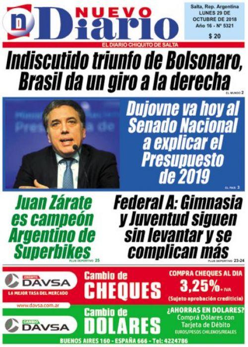 Tapa del 29/10/2018 Nuevo Diario de Salta