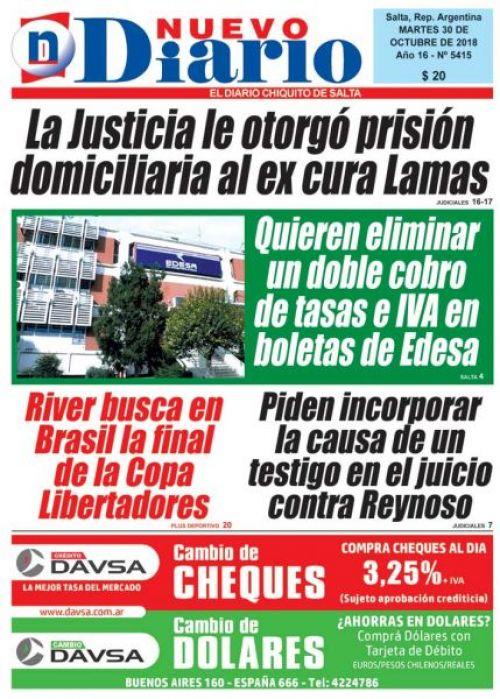 Tapa del 30/10/2018 Nuevo Diario de Salta