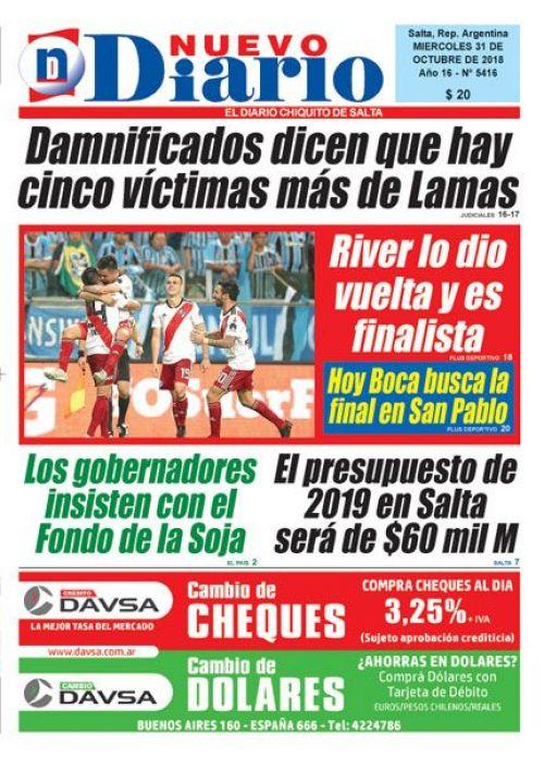 Tapa del 31/10/2018 Nuevo Diario de Salta