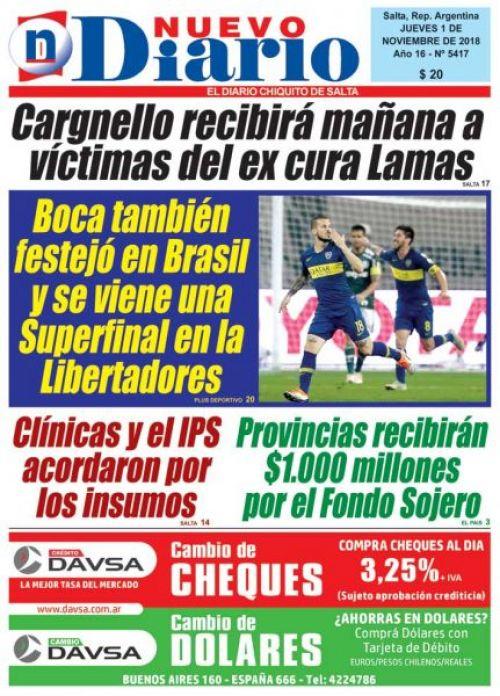 Tapa del 01/11/2018 Nuevo Diario de Salta
