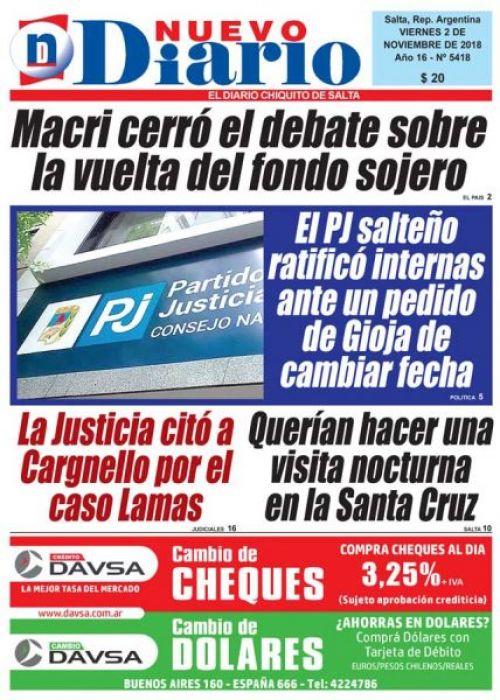 Tapa del 02/11/2018 Nuevo Diario de Salta