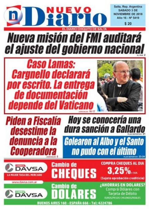 Tapa del 03/11/2018 Nuevo Diario de Salta