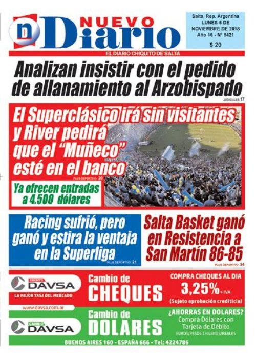Tapa del 05/11/2018 Nuevo Diario de Salta